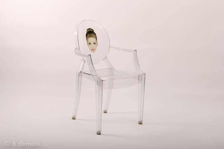 Three louis ghost chairs designed by starck edited by for Chaise louis ghost kartell