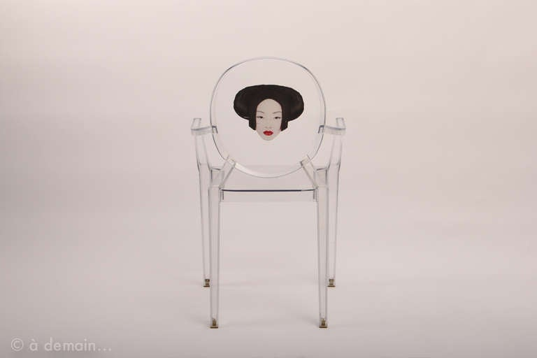 Three Louis Ghost chairs designed by Starck edited b