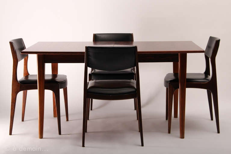 Dining table and its four chairs scandinavian design from for 1960s furniture designers