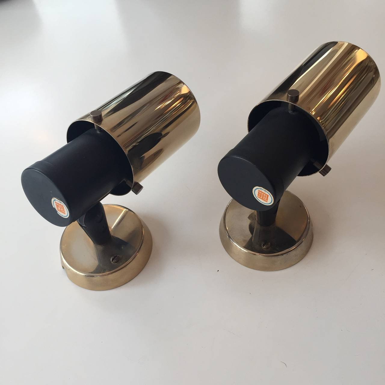 Mid-Century Modern Pair of Jacques Biny Wall Lights for Lita from the 1950s For Sale