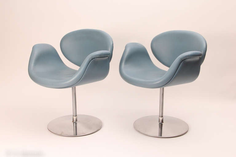 pair of pierre paulin blue little tulip armchairs. Black Bedroom Furniture Sets. Home Design Ideas