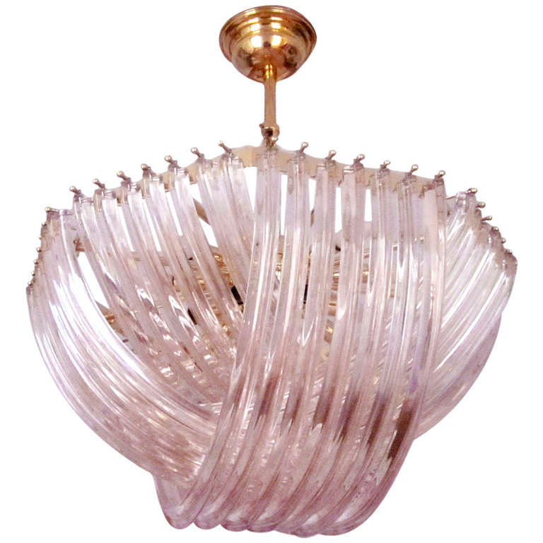 1950s Murano Venini Pink Crystal Chandelier At 1stdibs