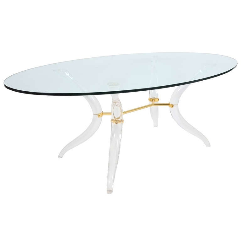 Large french organic lucite and brass coffee table at 1stdibs for Large lucite coffee table