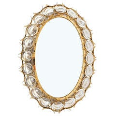 Beautiful Oval Palwa Crystal Brass Backlit Mirror