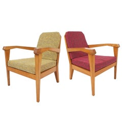 Elegant 1920s Pair of Felix Kayser Attributed Easy Chairs, Bauhaus