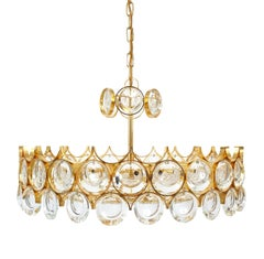 Beautiful Gold Plated Brass and Glass Chandelier Lamp Palwa 1960