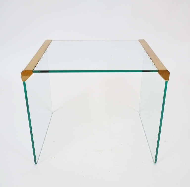 Italian Clear Glass Side Table By Pierangelo Galotti for Galotti