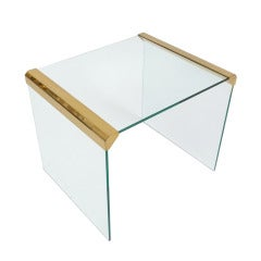 Italian Clear Glass Side Table By Pierangelo Galotti for Galotti & Radice