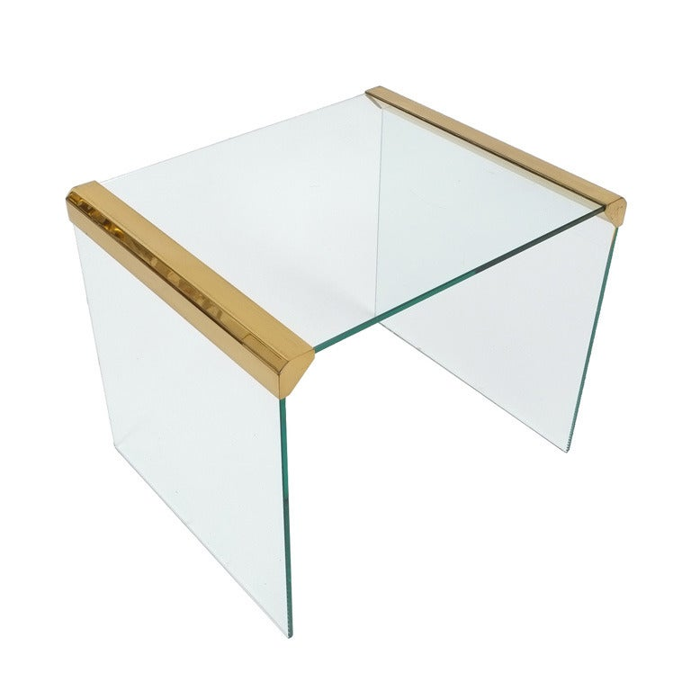 Italian Clear Glass Side Table By Pierangelo Galotti For Galotti U0026 Radice 1