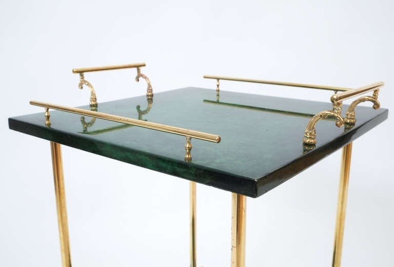 Aldo Tura Petite Bar Cart or Side Table 1960 at 1stdibs