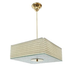 1950's Glass Brass Wicker Ceiling Fixture In The Style of Paavo Tynell