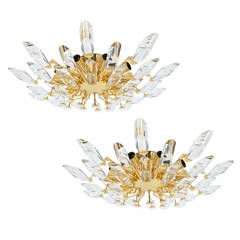 Set of Three Italian Crystal Glass and Gilded Brass Flush Mount