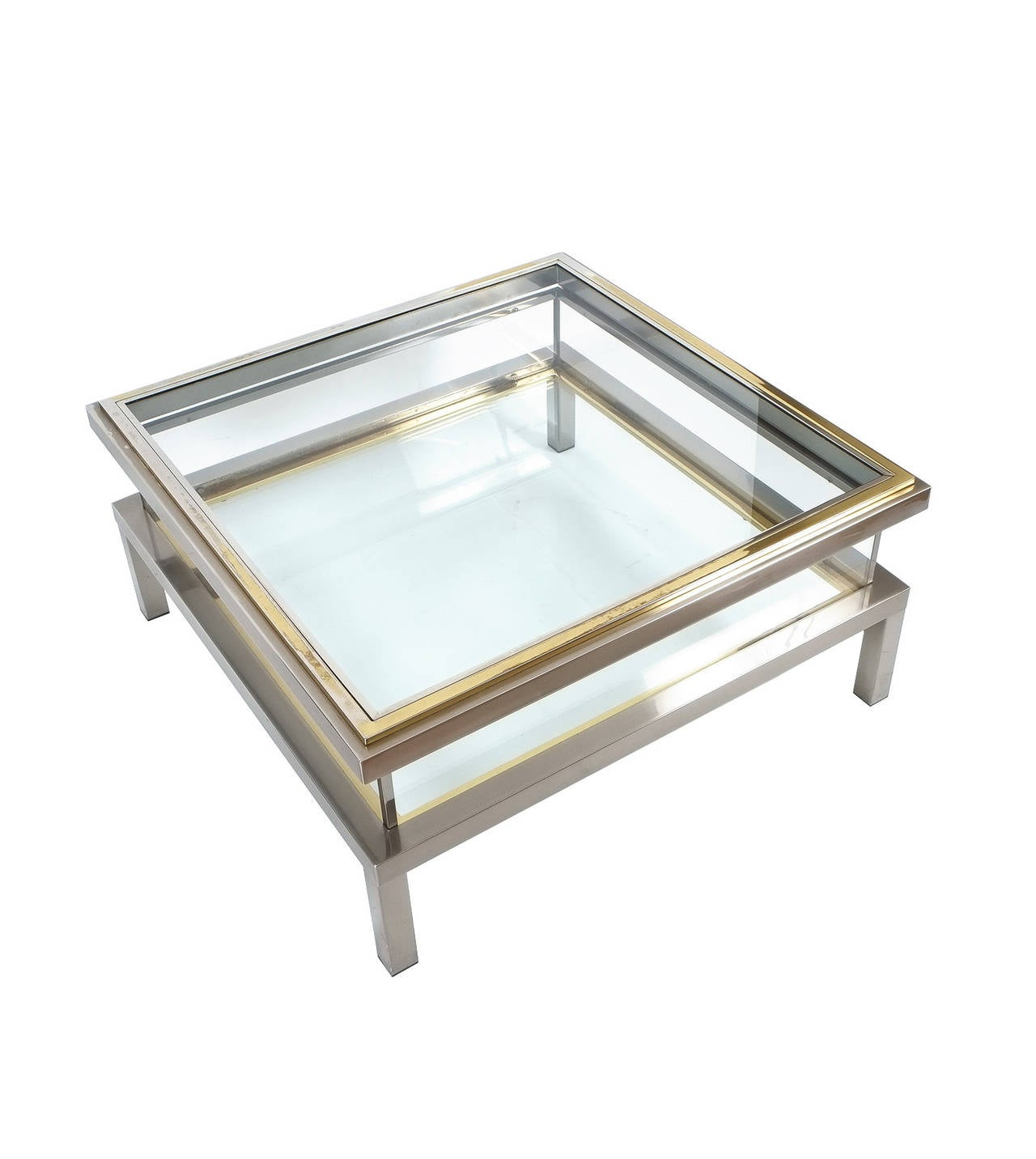 Elegant romeo rega brass and chrome coffee table with for Designer cocktail tables glass