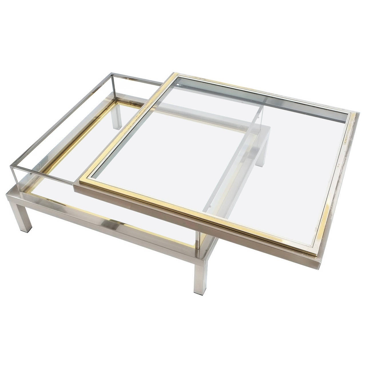 Elegant romeo rega brass and chrome coffee table with interior elegant romeo rega brass and chrome coffee table with interior display 1 geotapseo Images