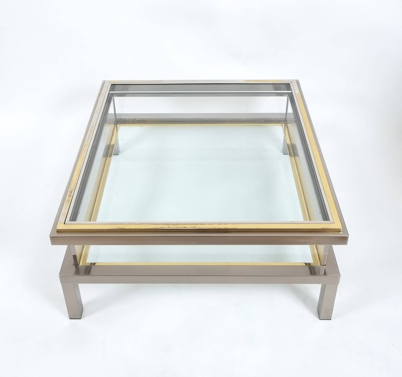 Elegant Brass And Glass Coffee Table: Elegant Romeo Rega Brass And Chrome Coffee Table With