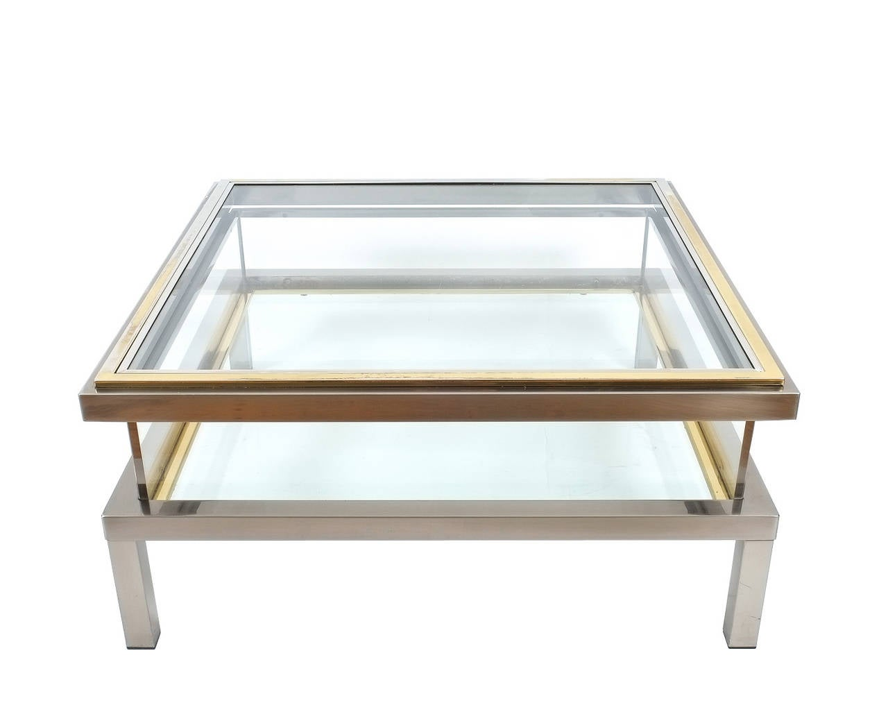 Elegant Romeo Rega Brass And Chrome Coffee Table With Interior Display At 1stdibs