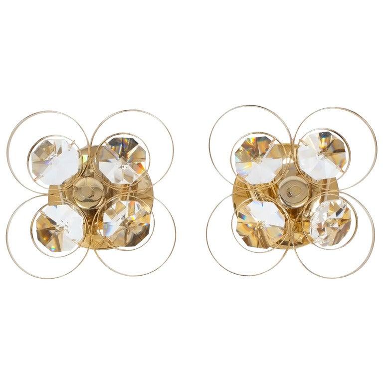Gilded Brass Crystal Glass Bakalowits Sconces, Austria 1960