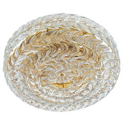 Palwa Gold Brass and Glass Flush Mount Ceiling Lamp Light, Germany 1960