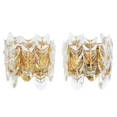 Pair of Gilded Brass and Glass Sconces by Palwa