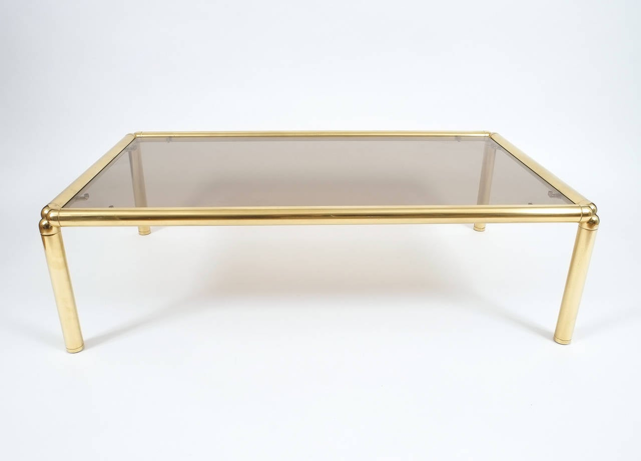 Large Italian Coffee Table In Brass And Glass At 1stdibs