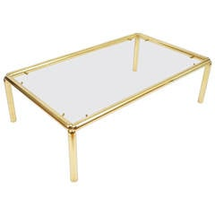 Large Italian Coffee Table in Brass and Glass