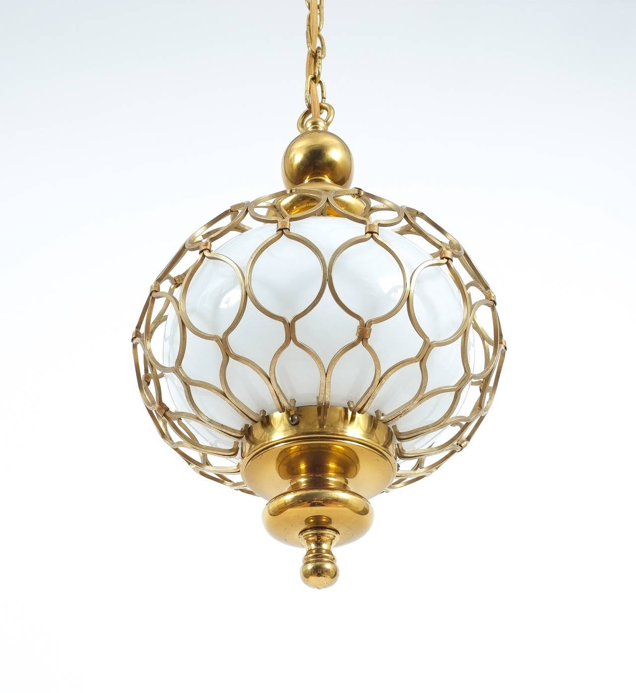 caged brass opal glass pendant l for