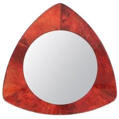 Rare Aldo Tura Red Parchment Mirror, Italy 1950