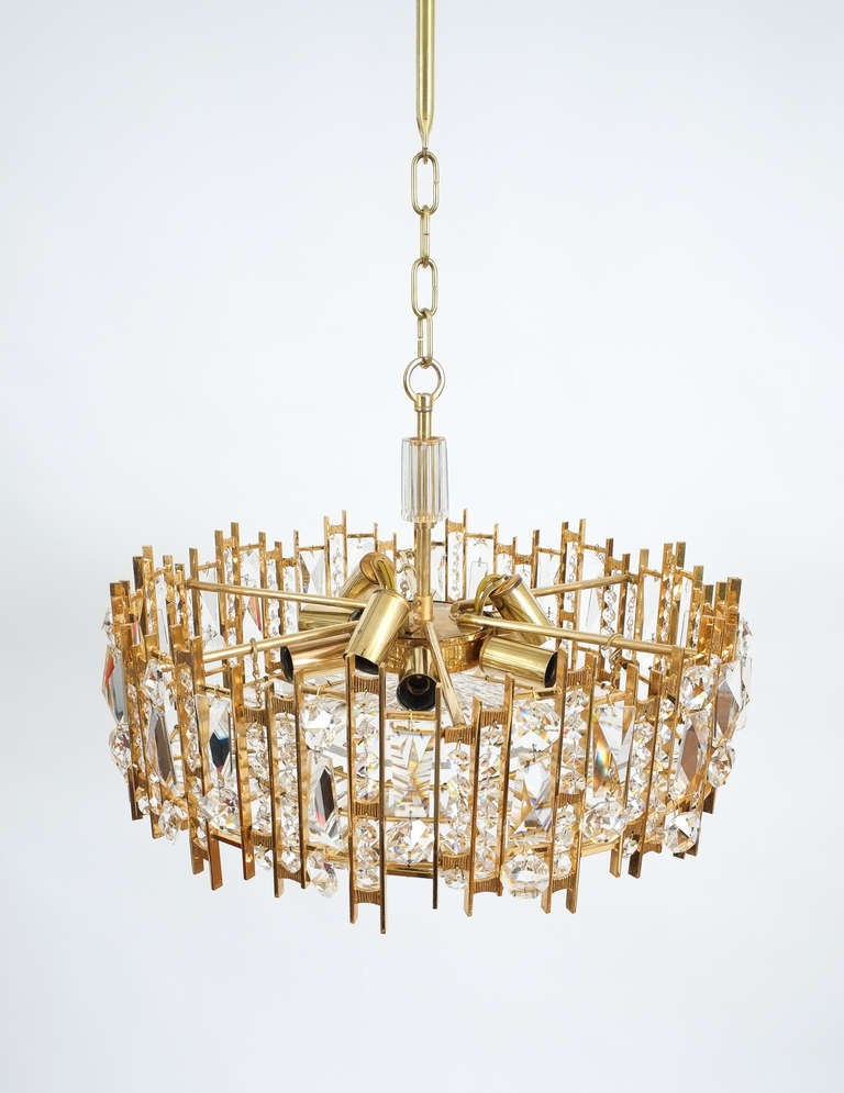 Mid-Century Modern Gilt Brass and Crystal Glass Chandelier by Lobmeyr For Sale