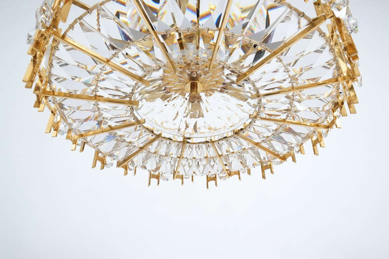 Austrian Gilt Brass and Crystal Glass Chandelier by Lobmeyr For Sale