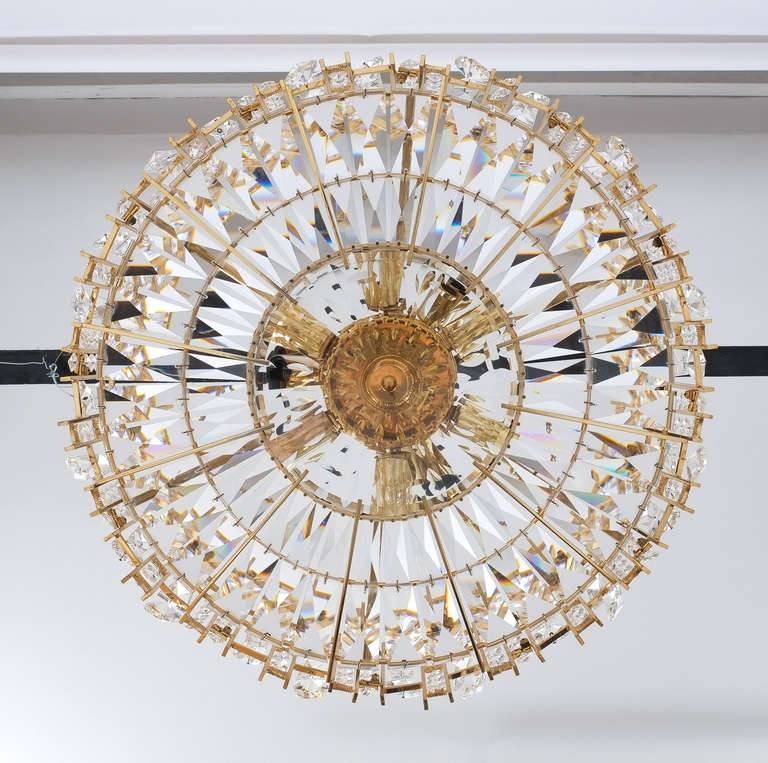 Mid-20th Century Gilt Brass and Crystal Glass Chandelier by Lobmeyr For Sale