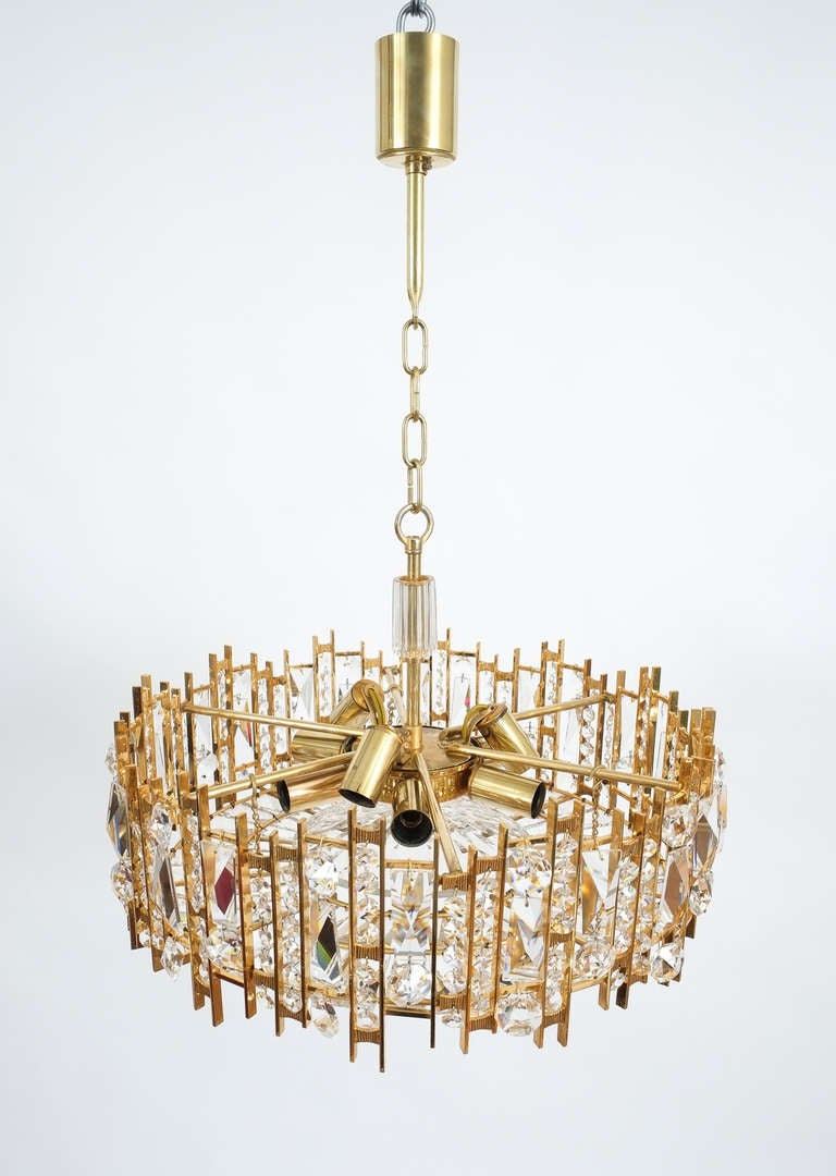 Gilt Brass and Crystal Glass Chandelier by Lobmeyr For Sale 1