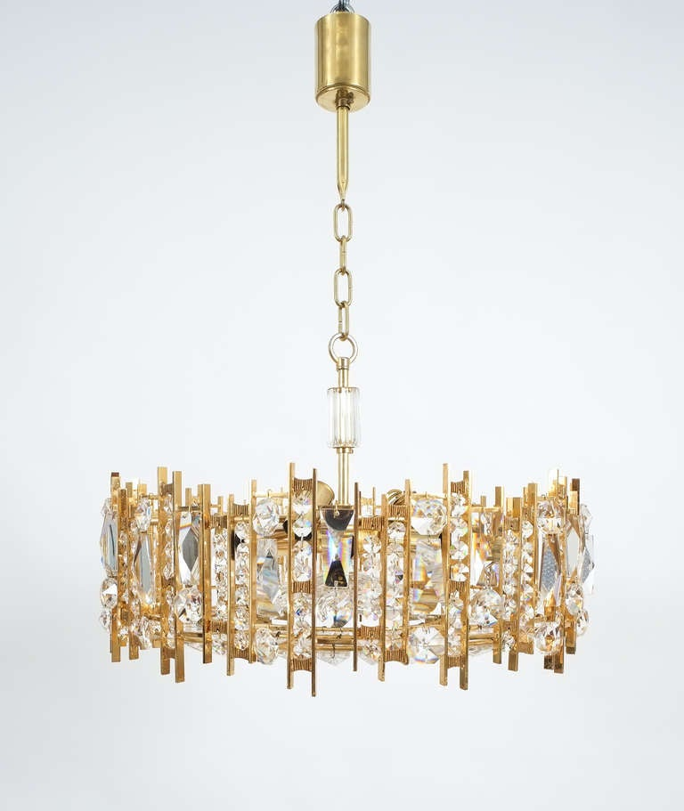 Gilt Brass and Crystal Glass Chandelier by Lobmeyr For Sale 2