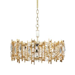 Gilt Brass and Crystal Glass Chandelier by Lobmeyr