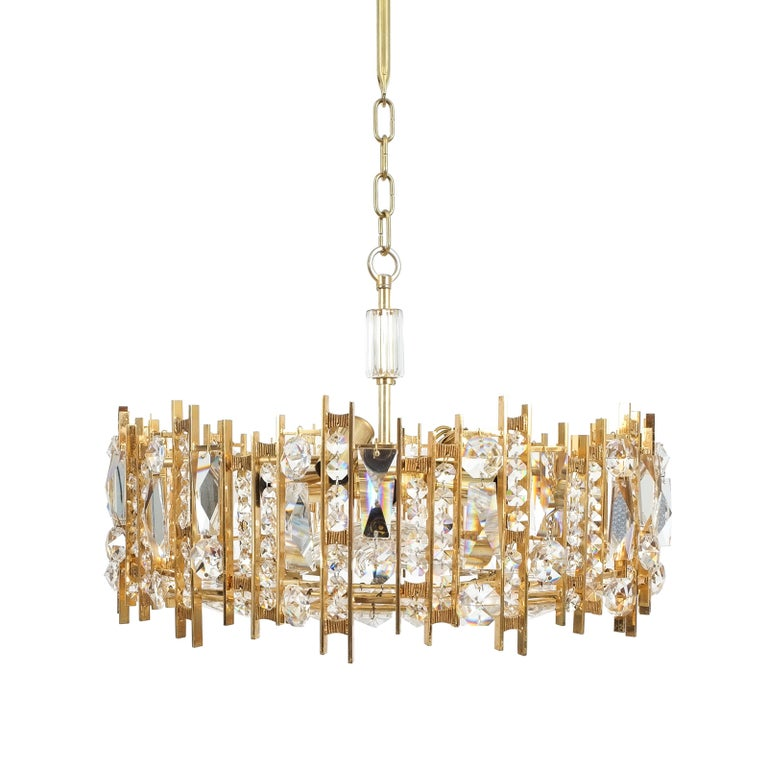 Gilt Brass and Crystal Glass Chandelier by Lobmeyr For Sale