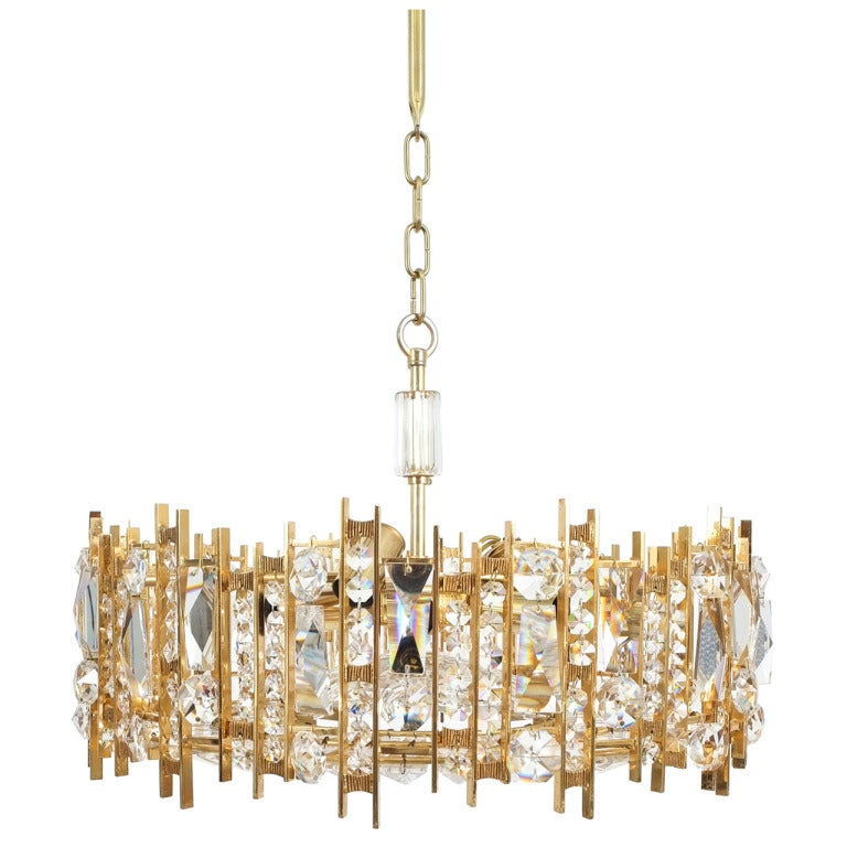 Gilt Brass And Crystal Glass Chandelier By Lobmeyr For