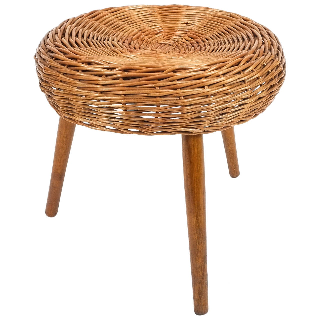 Tony Paul Wicker Stool At 1stdibs