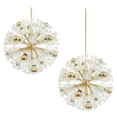 One of Two Emil Stejnar Starburst Snowflake Brass Glass Chandeliers, Refurbished