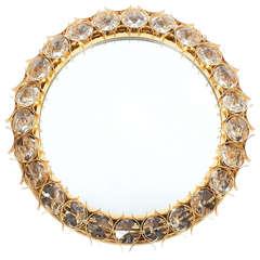Large Palwa Gilded Brass and Crystal Glass Diamond Backlit Mirror, 1970
