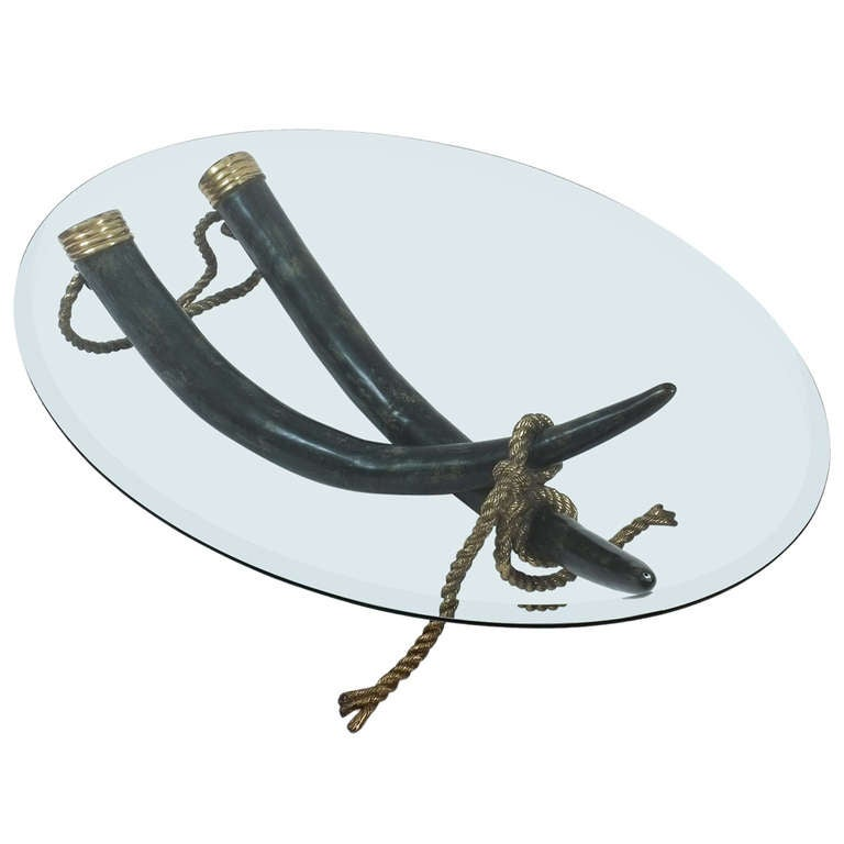 Large Bronze Brass Elephant Tusk Table Base by Italo Valenti