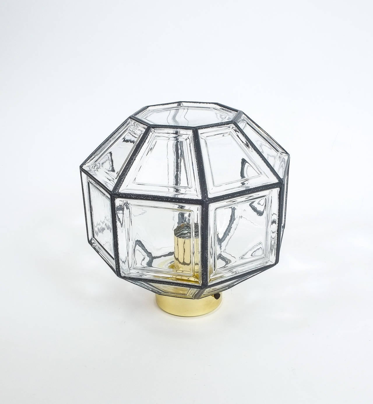 Mid-Century Modern Set of Three Clear Glass Lantern Flush Mounts Lamps by Limburg, 1960 For Sale