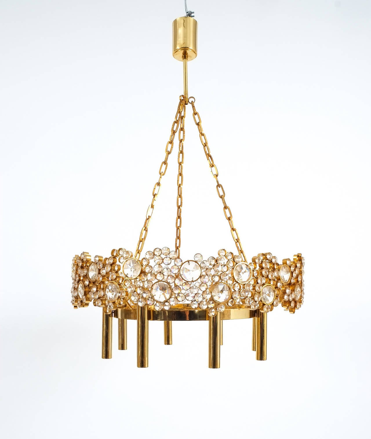 Large Gilt Brass and Glass Chandelier Lamp, Palwa circa 1960 For Sale 2