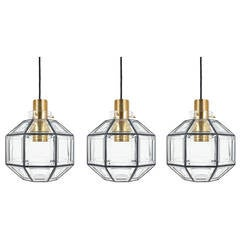 Set Of Three Large Iron and Clear Glass Lantern Pendants by Limburg