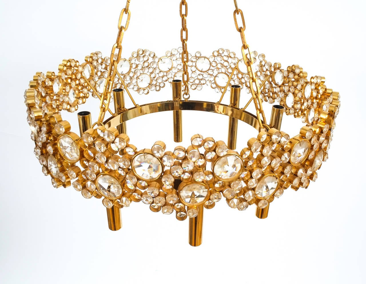 Mid-20th Century Large Gilt Brass and Glass Chandelier Lamp, Palwa circa 1960 For Sale