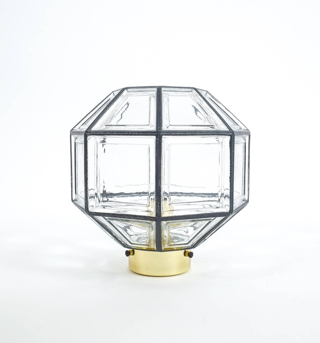 German Set of Three Clear Glass Lantern Flush Mounts Lamps by Limburg, 1960 For Sale