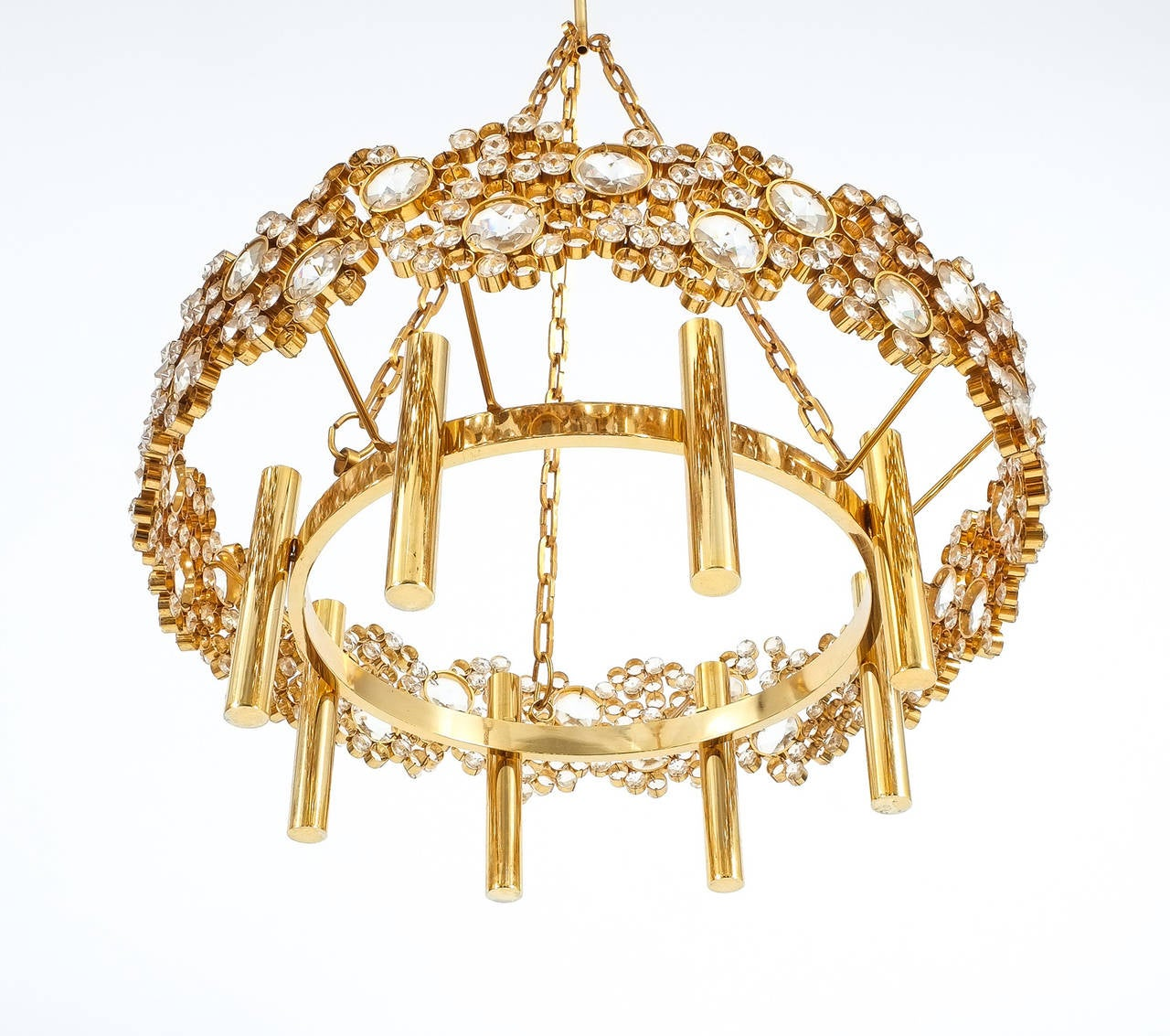Large Gilt Brass and Glass Chandelier Lamp, Palwa circa 1960 For Sale 1