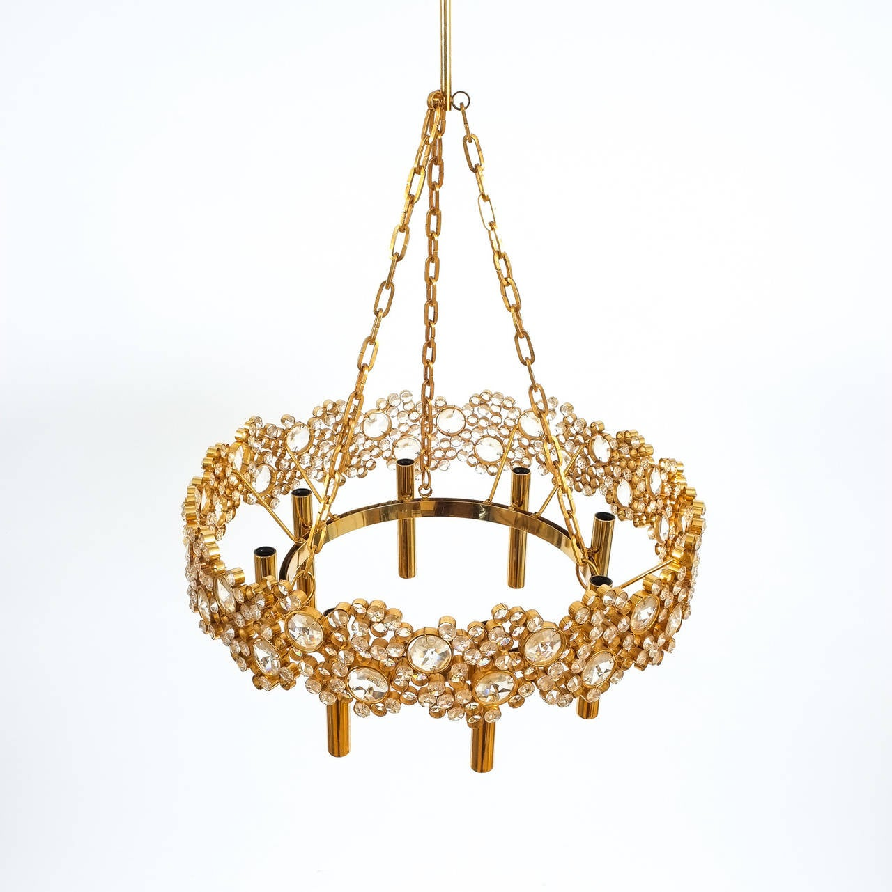 Mid-Century Modern Large Gilt Brass and Glass Chandelier Lamp, Palwa circa 1960 For Sale