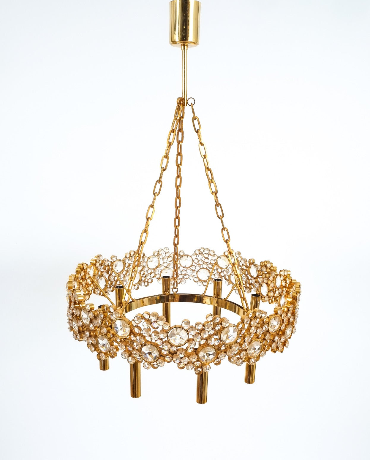German Large Gilt Brass and Glass Chandelier Lamp, Palwa circa 1960 For Sale