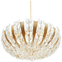 Palwa Large Gold Brass and Glass Chandelier Lamp, 1960