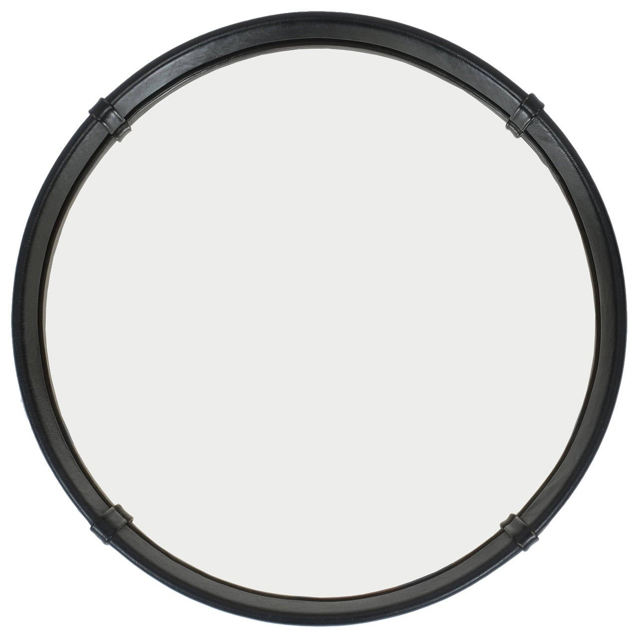 Circular Leather Wrapped Mirror by Pace