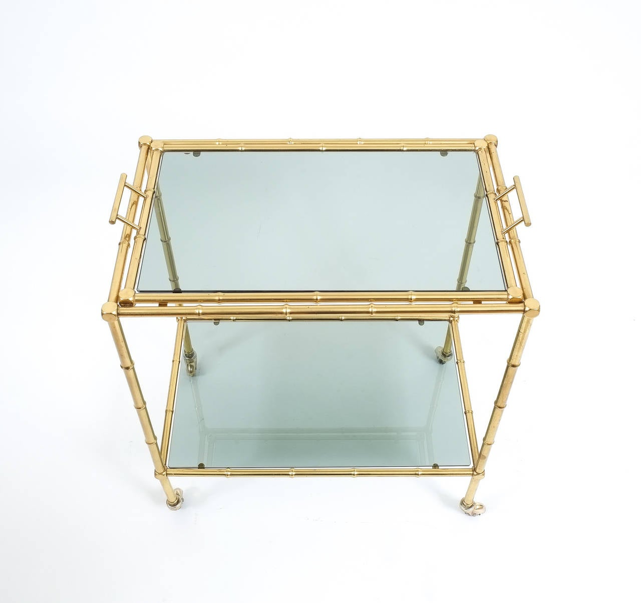Faux Bamboo Brass Bar Cart with Removable Glass Tray For Sale at 1stdibs